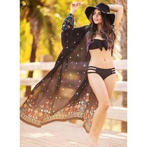 Tops - Black Maxi Beach Street Printed Cover Up Kimono